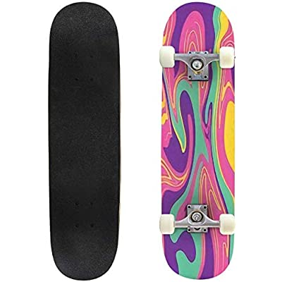Classic Concave Skateboard Psychedelic Colors Background Wavy Lines Liquid Pattern Longboard Maple Deck Extreme Sports and Outdoors Double Kick Trick for Beginners and Professionals : Sports & Outdoors