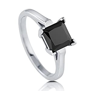 BERRICLE Rhodium Plated Sterling Silver Princess Cut Black Cubic Zirconia CZ Solitaire Ring Size 8