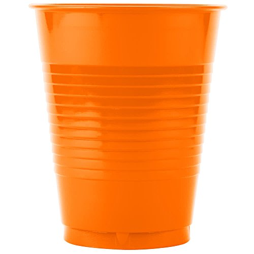 28191081 16 oz. Sunkissed Orange Plastic Cup - 20/Pack By TableTop King