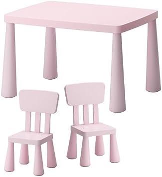 Ikea Sedie E Tavolo Per Bambini Mammut Per Interni E Esterni In Plastica Robusta Colore Rosa Chiaro Amazon It Prima Infanzia