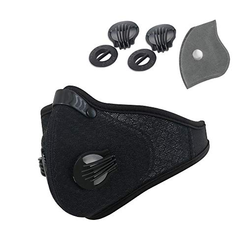 (Activated Carbon Face Mask Anti-Pollution Respirator with Filter Filtration Cotton Sheet and Valves for Exhaust)