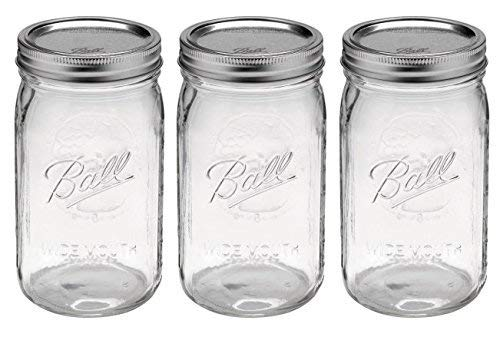 (Ball Quart Jar with Silver Lid, Wide Mouth, Set of 3)