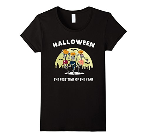 Womens Halloween Skeleton T-shirt The Best Time Of The Year Small Black (Best Female Halloween Costumes Of All Time)