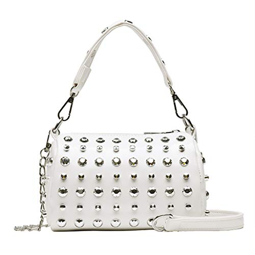 Women's Retro Rivet Slant Bag Single Retro Sling Shoulder Bag from Pengy, Leather Crossbody Tote Handbag