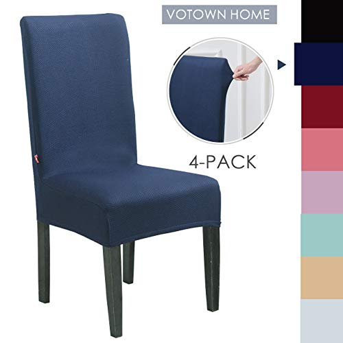 Votown Home Dining Room Chair Slipcovers Spandex Stretch fabric Home Decor Set of 4, Navy Blue