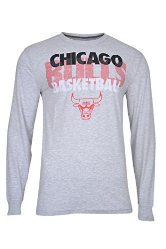 Chicago Bulls Official T-shirt - NBA Men's Chicago Bulls T-Shirt Supreme Long Sleeve Pullover Tee Shirt, X-Large, Gray
