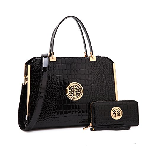MMK collection Women Fashion Matching Satchel handbags with wallet(6900)~Designer Purse ~Multi Pocket ~ Beautiful Designer Handbag Set (Designer Black Handbag)