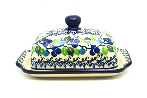- Polish Pottery Butter Dish - Blue Berries