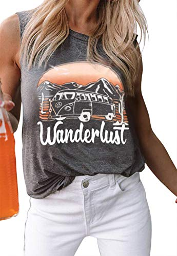 Wanderlust Tank Tops for Womens Letter Print Tee Summer Casual Sleeveless T Shirt Vintage Graphic Vacation Vest Tops (XX-Large, Grey)