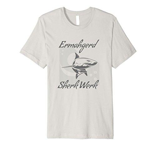 Mens Funny Shark T Shirt Ermahgerd Sherk Werk  2XL Silver