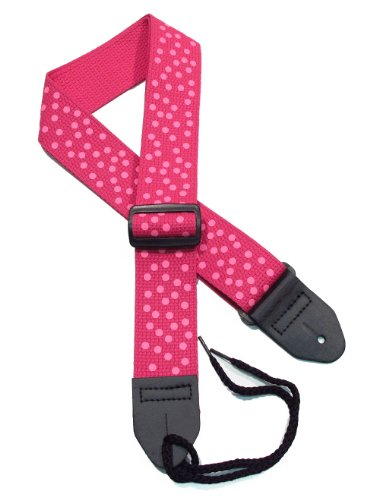 """Girls Guitar Strap 2"""" Cotton with Hot Neon Pink Polka Dots on a Fuschia strap"""