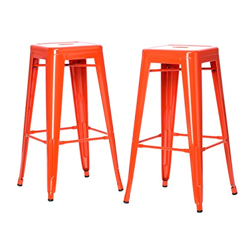ModHaus Living Set of 2 Orange French Bistro Tolix Style Metal Bar Stools in Glossy Powder Coated Finish Includes (TM) Pen