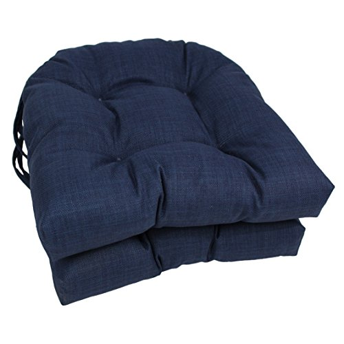 Blazing Needles Spun Polyester Solid Outdoor U-Shaped Tufted Chair Cushions Set, Set of 2, 16 , Azul