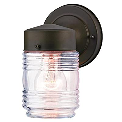 Westinghouse 6688200 One-Light Outdoor Jelly Jar Wall Fixture with Clear Ribbed Glass, Oil Rubbed Bronze
