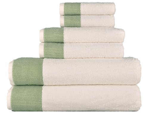 - LUNASIDUS Venice Luxury Hotel & Spa Premium 6 pcs Bath Towel Set 100% Turkish Cotton, White Sage Green Stripe