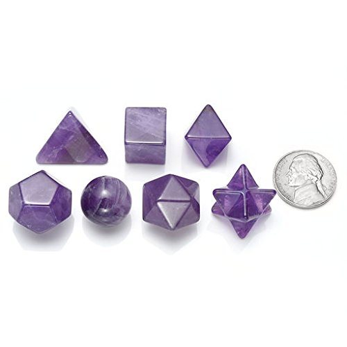 MANIFO 7pcs Amethyst Platonic Solids Sacred Geometry Set Nautral Gemstones Kit with Merkaba Star For Chakra Reiki Healing Energy,Yoga Meditation,Wicca,Therapy (Amethyst) by MANIFO