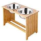 FOREYY Raised Pet Bowls for Cats and Dogs, Bamboo Elevated Dog Cat Food and Water Bowls Stand Feeder with 2 Stainless Steel Bowls and Anti Slip Feet (15'' Tall, 65 oz Bowl)