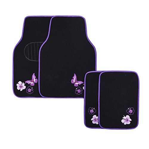 CAR PASS-Universal Fit Embroidery Butterfly and Flower Car Floor Mats,Universal fit for SUV,Trucks,sedans,Vans,Set of 4(Black with Purple)