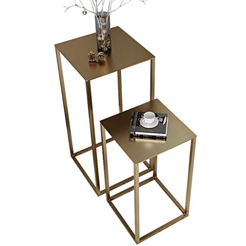 DNSJB Computer Desk Sofa Table, Living Room Bedroom, Simple Side Table, Wrought Iron Flower Stand, Indoor Flower Pot Rack Breakfast Tray Table (Color : Gold, Size : C)