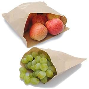 La bolsa de papel empresa papel Kraft bolsas de papel, color marrón, 10x 25,4cm, 100unidades)