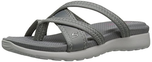 Skechers Cali Breeze Low Lucky Stars Toe Sandal anillo gris claro