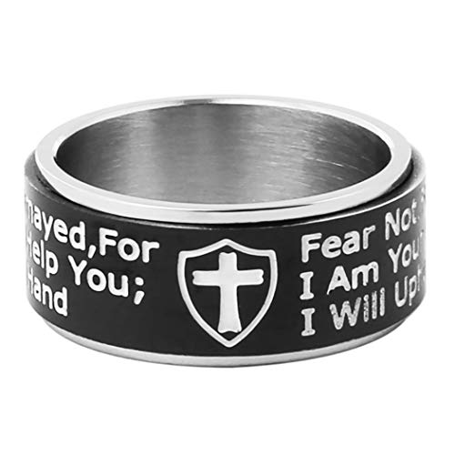 (HZMAN Knights Templar Cross Shield Stainless Steel Ring Isaiah 41:10 Strength Bible Verse Jewelry Wide 10mm Rings (Black, 11))