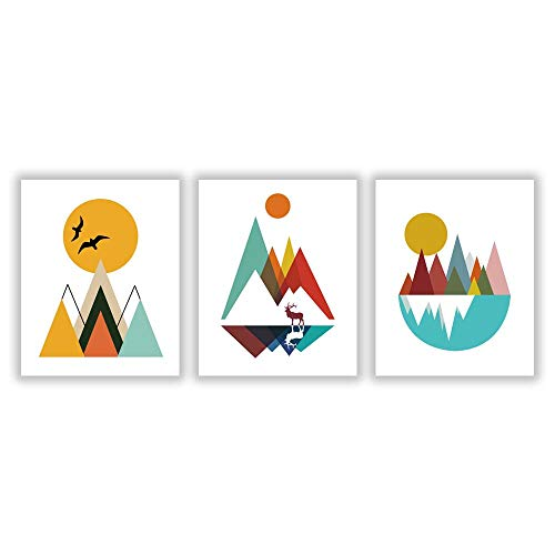 HLNIUC mid Century Abstract Geometric Mountain Peak Elk Canvas Wall Art Poster,Abstract pianting Poster Print Nordic Style Wall Art Picture Living Room Home Decor 3 Piece Set (8x10)
