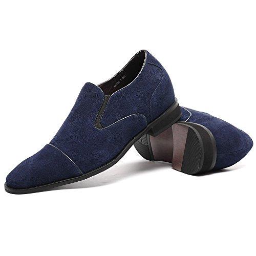 CHAMARIPA Herren British Tuxedo Schuhe,Schwarz and Blau,7 cm Erhöhen - K65K02 Blau