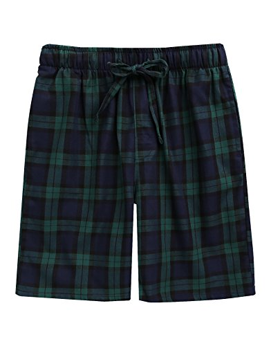 (TINFL Boys Soft Cotton Plaid Check Sleep Lounge Shorts BSP-SB004-Green)