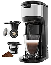 Single Serve Coffee Maker Brewer for K-Cup Pod & Ground Coffee Thermal Drip Instant Coffee Machine with Self Cleaning Function, Brew Strength Control