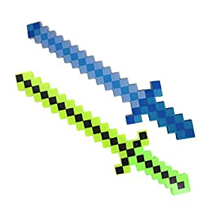 Lot of 2X Light-Up Diamond Pixel Sword LED Motion Activated & Flashing Lights - Green& Blue