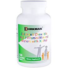 Kirkman Children's Chewable Multi-Vitamin/Mineral Wafers with Xylitol || 120 Wafers || Free of common allergens || Gluten and Casein Free