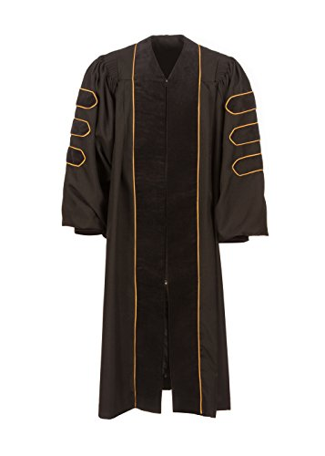 American Doctoral Gown (5'9'' - 5'11'', Black with black velvet + gold piping) by Graduation Attire