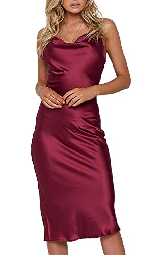 (Moxeay Womens Cowl Neck Backless Spaghetti Strap Cocktail Bodycon Midi Dress (L, Wine Red))