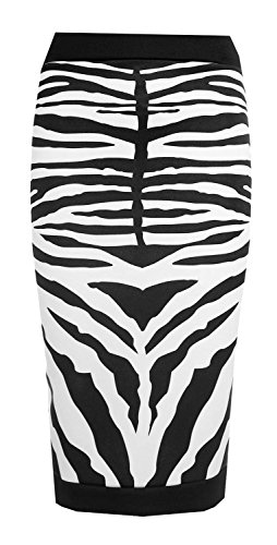Forever Womens Celebrity Inspired Zebra Print Midi Pencil Skirt (10, Black)