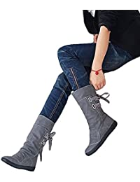 Women's Winter Back Lace up Boot Mid Calf Snow Boots-02