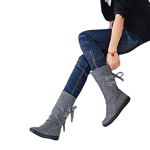 Blivener Women's Winter Back Lace up Boot Mid Calf Snow Boots Grey US 9.5