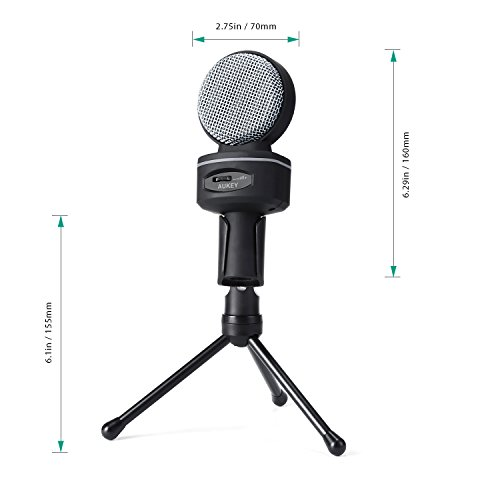 AUKEY Condenser Microphone, Studio Bidirectional Recording Condenser Mic with 3.5mm Microphone Headphones Splitter and Tripod Stand for Desktop Computers(Gray) - Image 5