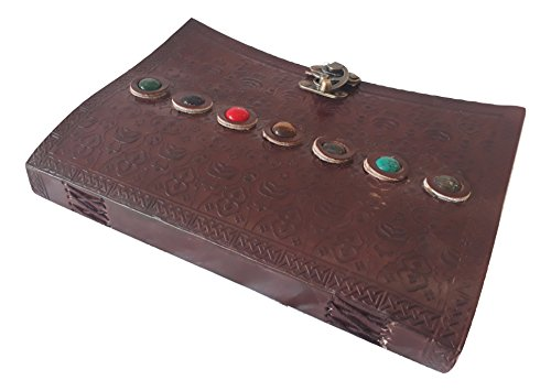 Leather Writing Vintage Journal Notebook Sketchbook Diary, Personal Organisor Multi Stone Classic Embossed Travel to write in, Gift For Men & Women