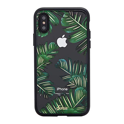 iPhone Xs, iPhone X, Bahama (Palm Leaf) Cell Phone Case [Military Drop Test Certified] Protective Clear Case for Apple iPhone X, iPhone Xs ()