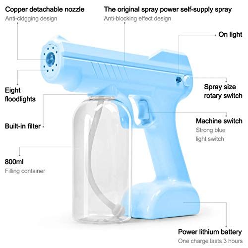 Steam Gun Handheld Nano Electric Sprayer with 2 27oz Large Capacity Bottles Adjustable Atomizer for Home Office Garden or School (Blue)