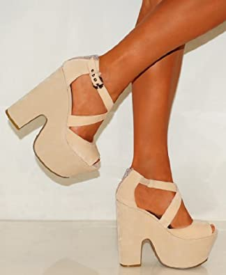 Ladies Womens Cream Beige Nude Faux Suede Chunky Wedges Strappy