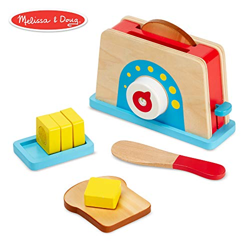 Cutting Bread Set - Melissa & Doug Bread and Butter Toaster Set (9 pcs) - Wooden Play Food and Kitchen Accessories