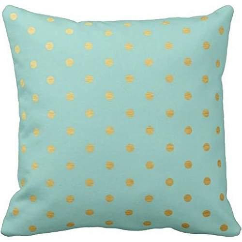 Gold Foil Polka Dots Modern Mint Blue Metallic Throw pillow case (Metallic Modern Sofa)