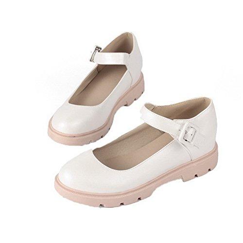 Cordones Tacón Voguezone009 Sólido Puntera Pu Zapatos De Sin Mini Mujeres Blanco Cerrada EwSqfSI