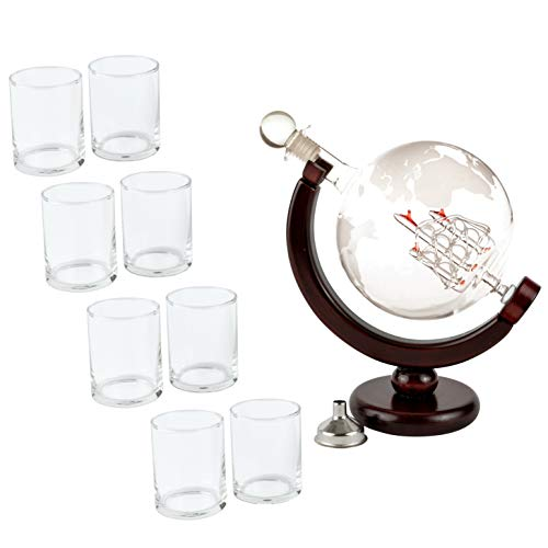 Olivia & Aiden Whiskey Decanter Globe with 8 Shot Glasses (Large 850 mL) World Map Liquor Dispenser | Unique, Vintage, Round | Bourbon, Scotch, Brandy, or Rum by OLIVIA & AIDEN (Image #8)
