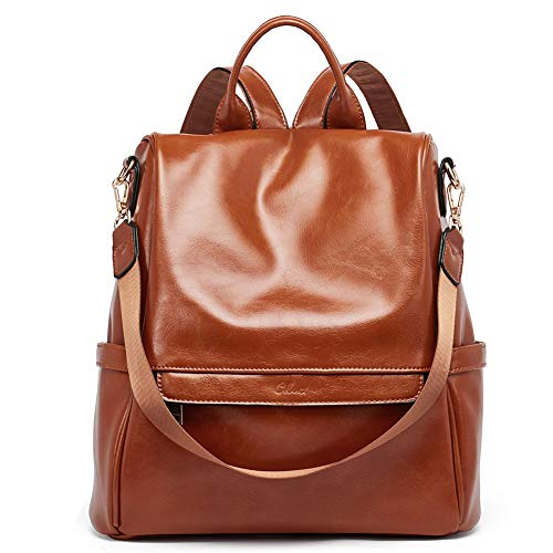 Women Backpack Purse Fashion Oil Wax Leather Large Travel Bag Ladies Shoulder Bags - brown