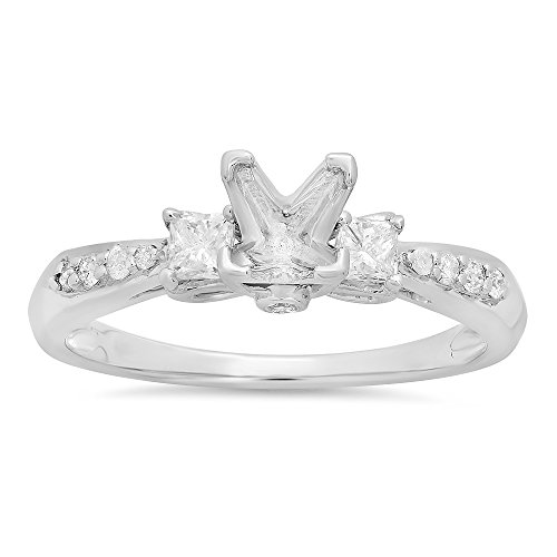 0.33 Carat (ctw) 14k White Gold Princess & Round Diamond Semi Mount Engagement Ring (No Center Stone)