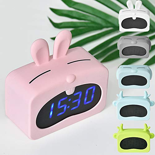 (Paraclement LED Alarm Clock, Sound Control Digital Desk Clock with USB Charging, Display Date Indoor Temperature, Snooze Mode with Removable Rabbit Silicon Cover, PinkRabbit)