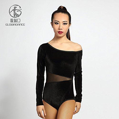 [G1010B Slim Long Sleeve See Through Split Leg Latin Salsa Jive Dance Sport Costumes Dresses (Small)] (Hand Jive Costumes)